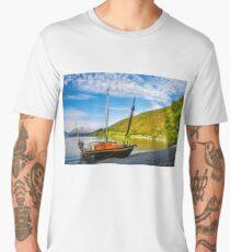 Small boat on the shore of Lake Wakatipu at Wilson Bay Men's Premium T-Shirt