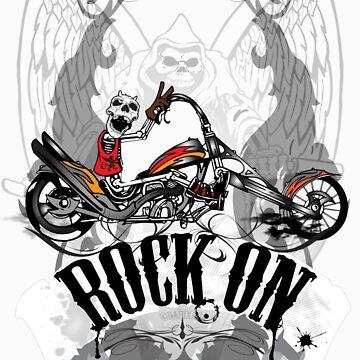 Skulls Rock On Rock Music T-Shirt by DApixara