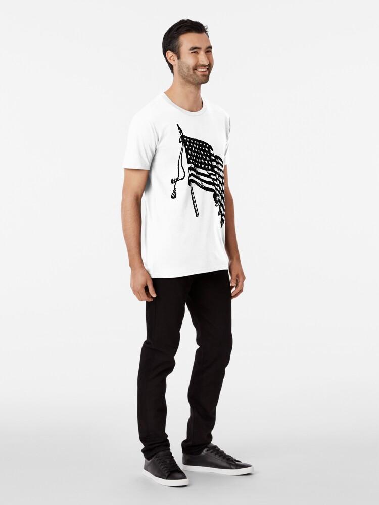 Alternate view of Vintage and Retro American Flag Premium T-Shirt