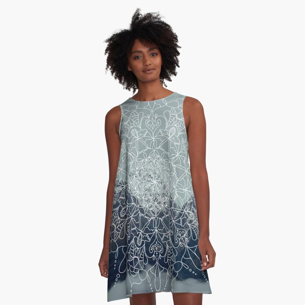 Berg-Mandala A-Linien Kleid