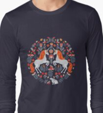 Decorative ornament with unicorns, birds, rabbits and flowers.  Long Sleeve T-Shirt