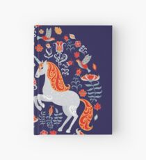 Decorative ornament with unicorns, birds, rabbits and flowers.  Hardcover Journal