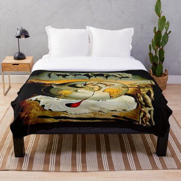 ENFANTE GEOPOLITIQUE OBSERVANTE : Salvador Dali Painting Print Throw Blanket