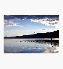 Blue Morning - lake mountains clouds Photographic Print