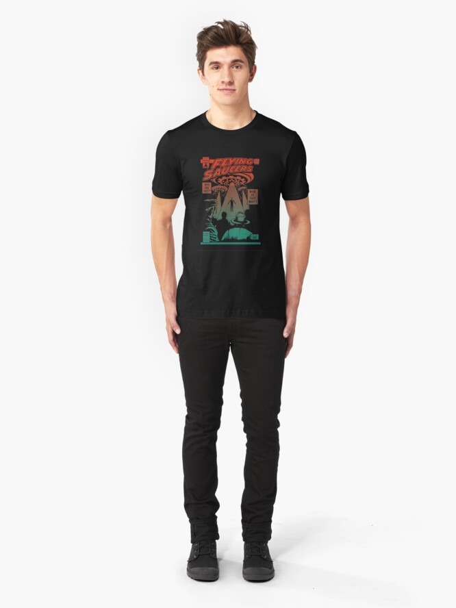 Alternate view of Flying Saucer UFO Aliens Area 51 Space Comic Book Vintage Retro Slim Fit T-Shirt