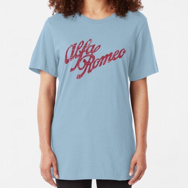 Alfa Romeo Script - Classic Distressed Look Slim Fit T-Shirt
