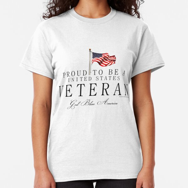 Proud To Be A US Veteran with Flag, Black Classic T-Shirt