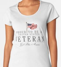 Proud To Be A US Veteran with Flag, Black Women's Premium T-Shirt