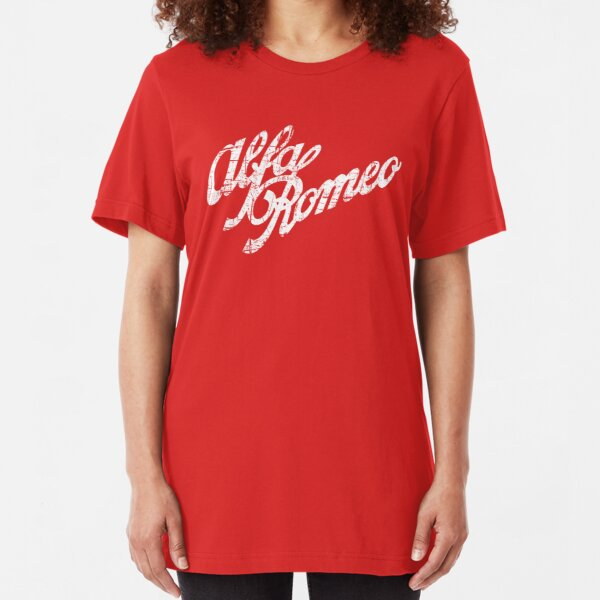 Alfa Romeo Logo Script - Classic Distressed look (white) Slim Fit T-Shirt
