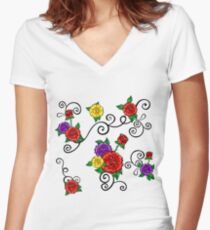Vector Floral Pattern Women's Fitted V-Neck T-Shirt