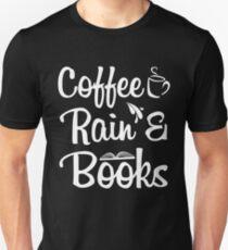 Coffeine Rain And Books Unisex T-Shirt