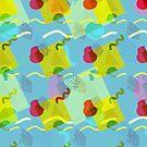 Neo Memphis Fun Pattern - Blue by SquibbleDesign