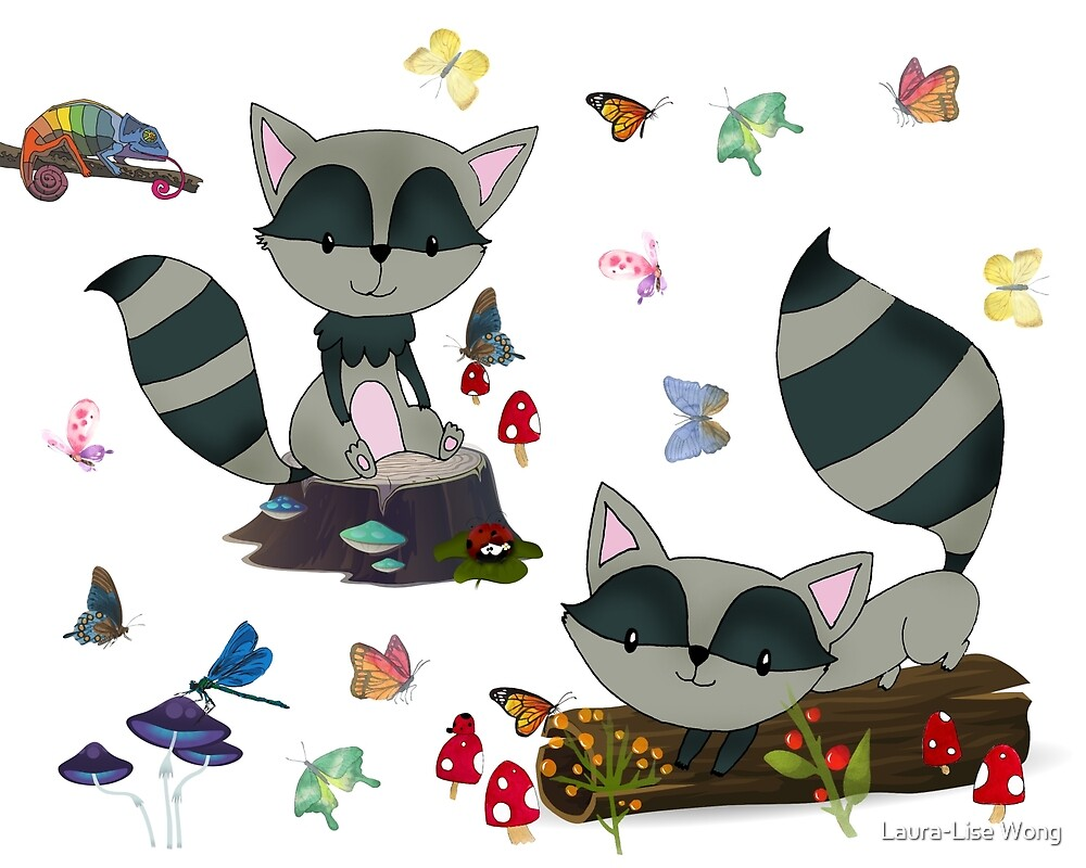 Whimsical Raccoons  by Laura-Lise Wong