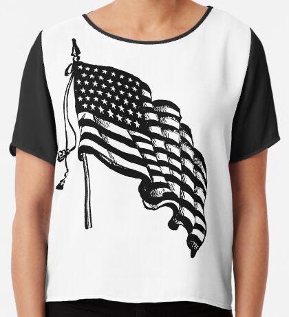 Vintage and Retro American Flag Chiffon Top