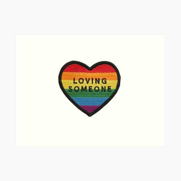 Loving someone heart patch Art Print