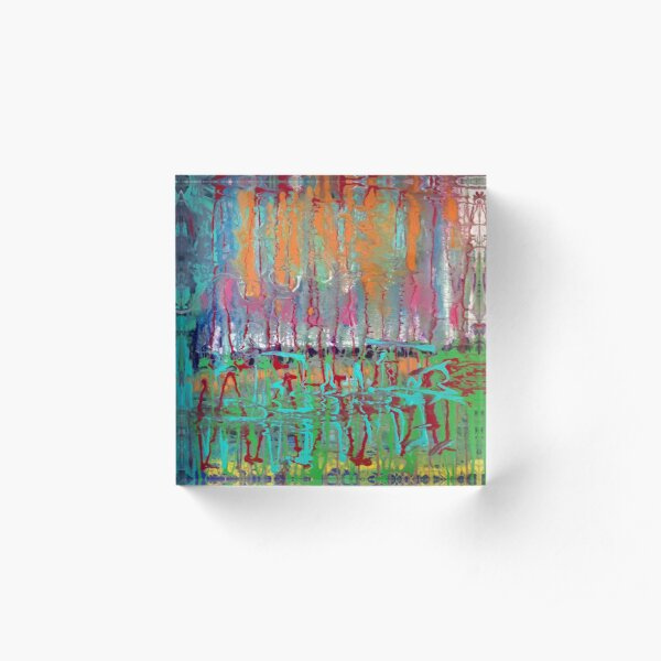 Colorful Original Abstract Painting Acrylic Block