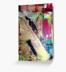 Red Gold and Black Abstract painting Greeting Card