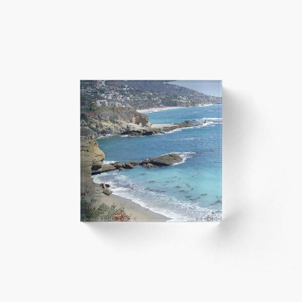 California Beach Scene With Natural Arch Acrylic Block