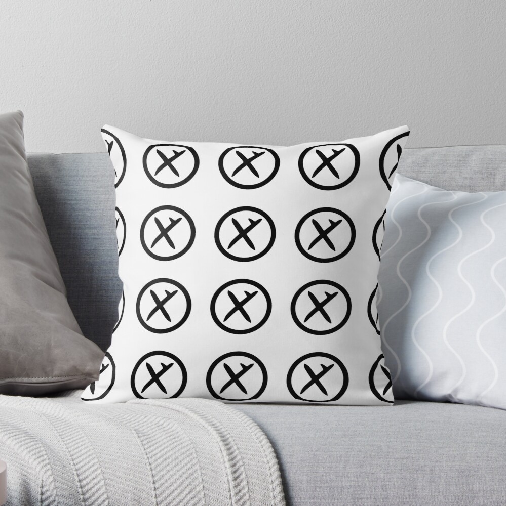 Hooked Cross (in black) Throw Pillow