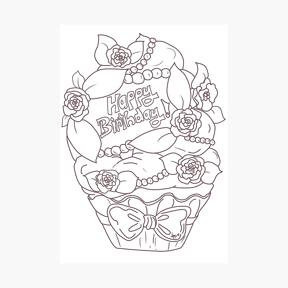 - Happy Birthday Rose Cupcake - Coloring Book Style