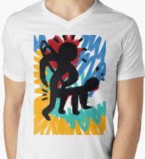 The Hunting Primitive African Street Art Graffiti  Men's V-Neck T-Shirt