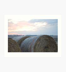 Sunrise Hayrolls Art Print