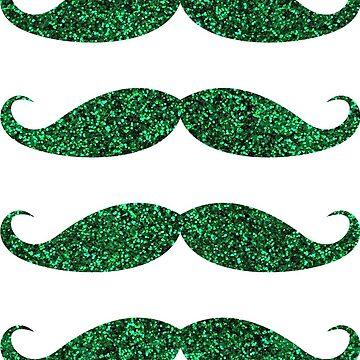 Pegatinas de bigote leprechaun brillo verde para el día de San Patricio - IMAGEN IMPRESA de Mhea
