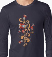 Hummingbird and interwoven flowers. Decorative seamless pattern. Folk art. Long Sleeve T-Shirt