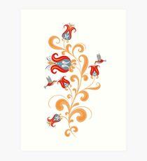 Hummingbird and interwoven flowers. Decorative seamless pattern. Folk art. Art Print