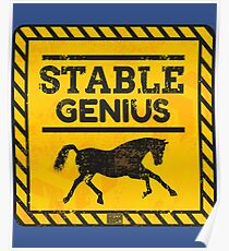 Caution Warning Stable Genius Tweet Trump Political Poster