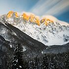 Last light of sunset on Slovenian Alps by Patrik Lovrin