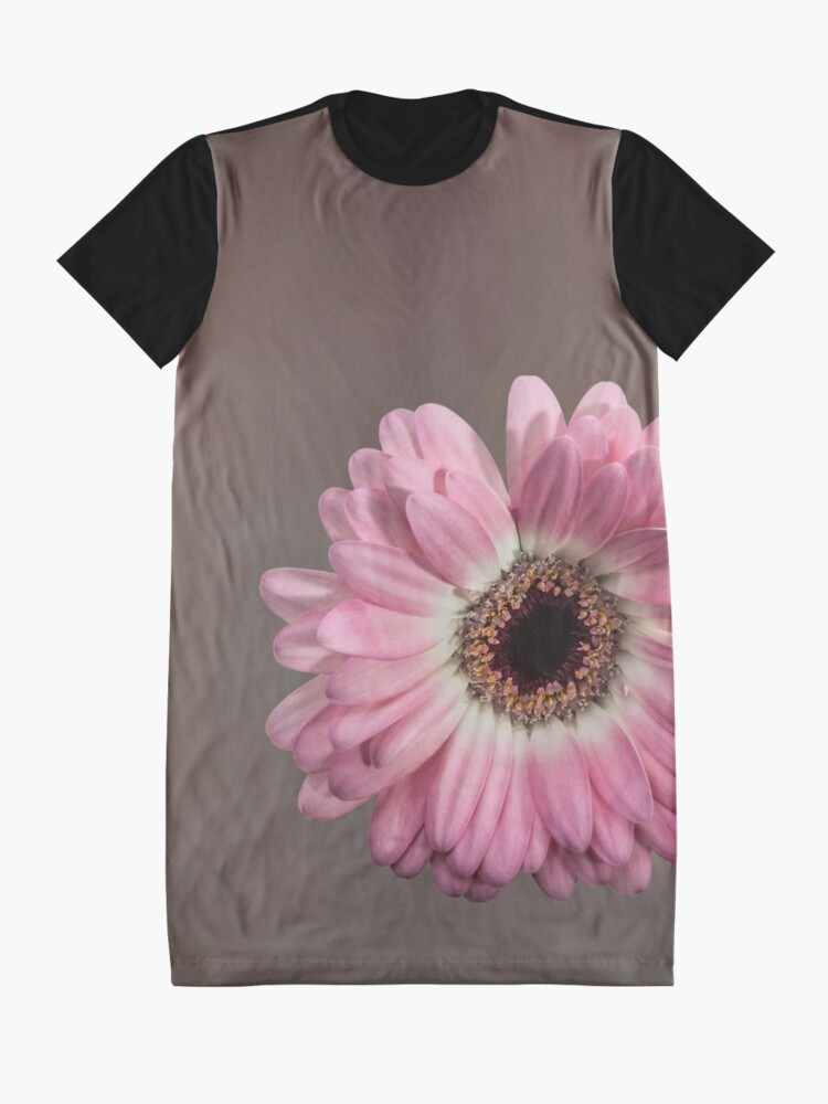 Alternate view of Single pink Gerbera Flower Graphic T-Shirt Dress