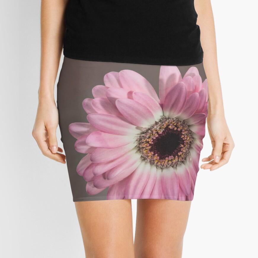 Single pink Gerbera Flower Mini Skirt