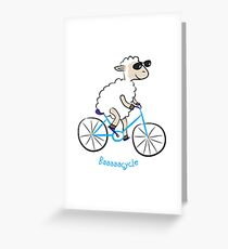 sheep biking happily in slow speed Greeting Card