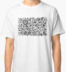 Vintage folk art floral ornament Black flowers on white background  Classic T-Shirt