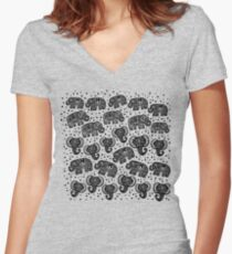 Beautiful pattern Indian Elephant with polka dot ornaments Women's Fitted V-Neck T-Shirt