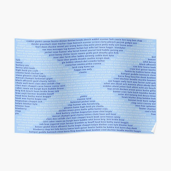 Scottish Words in a Saltire Poster