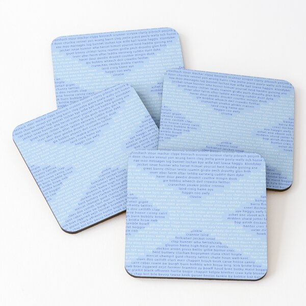 Scottish Words in a Saltire Coasters (Set of 4)