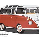 Hippie 21 Window VW Bus Red/White  by Frank Schuster