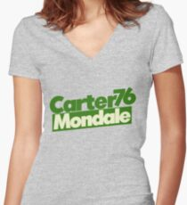 Retro Democrat Jimmy Carter Women's Fitted V-Neck T-Shirt