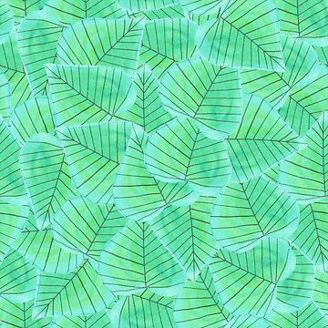 Pattern 15 - Turquoise heart shaped leaves  by IreneSilvino
