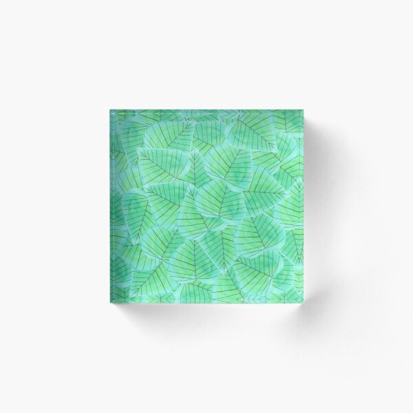 Pattern 15 - Turquoise heart shaped leaves  Acrylic Block