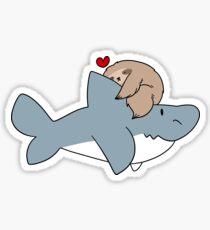 Sloth Loves Shark Sticker