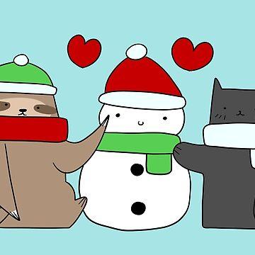 Sloth Cat and Snowman Love by SaradaBoru