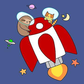 Rocket Ship Sloth and Tabby Cat by SaradaBoru