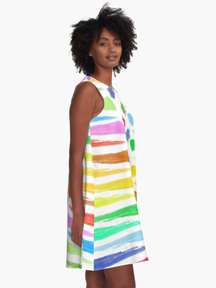 Alternate view of Rainbow Stripes A-Line Dress