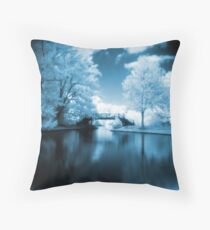 Blue Infrared Park Throw Pillow