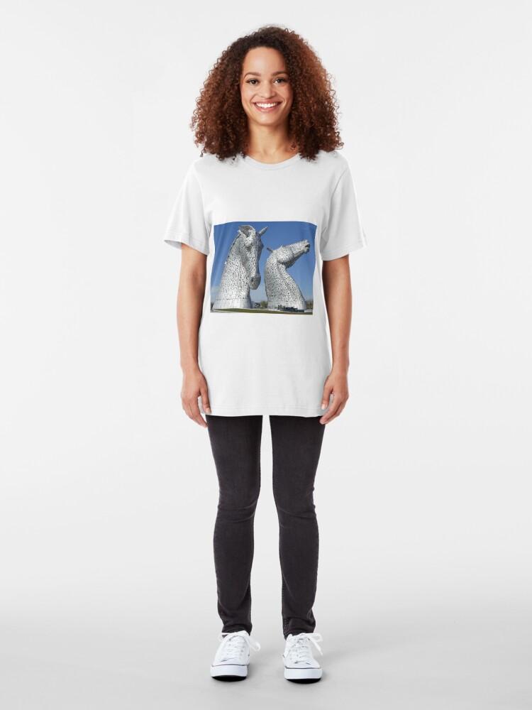 Alternate view of The Kelpies, Helix Park , Falkirk , Scotland Slim Fit T-Shirt