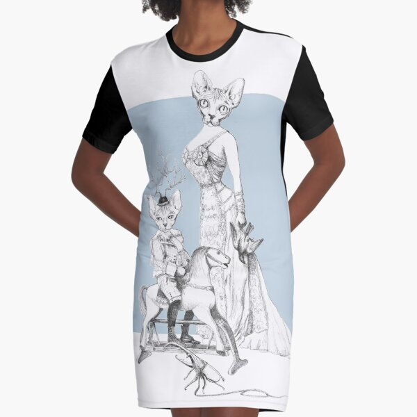 Weird & Wonderful: Bald and Beautiful (sphynx cat family portrait) Graphic T-Shirt Dress