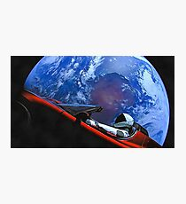 Tesla in Space with Earth Photographic Print